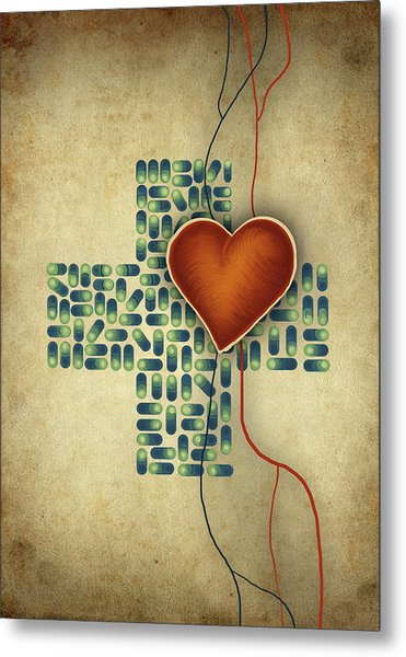 Conceptual Illustration Of Heart Over Cross Shaped Capsules Metal Print by Fanatic Studio / Science Photo Library