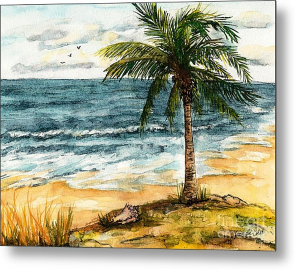 Conch Shell In The Shade Metal Print