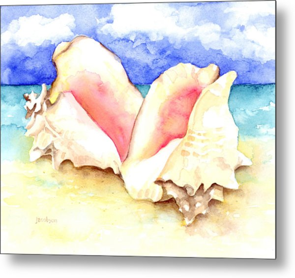 Conch Shells On Beach Metal Print