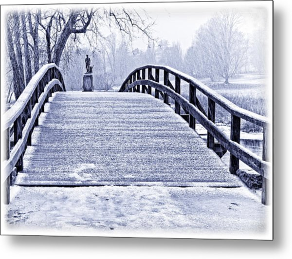 Concord Bridge In Winter Metal Print by Bill Boehm
