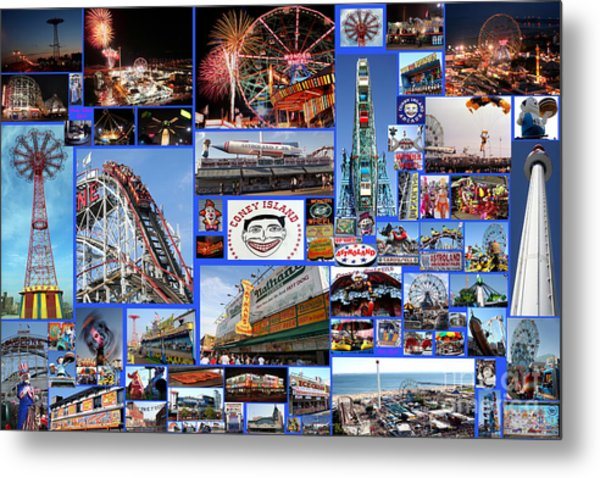 Coney Island Collage Metal Print