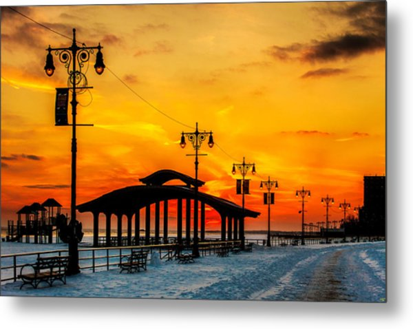 Coney Island Winter Sunset Metal Print