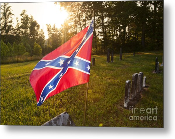 Confederate Flag In An Old Cemetery Metal Print by Jonathan Welch