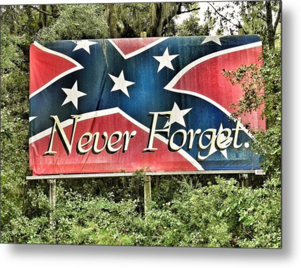 Confederate Flag In The Woods Metal Print