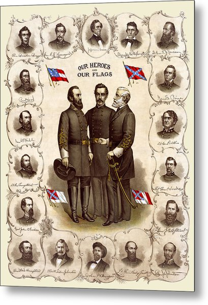 Confederate Generals And Flags Metal Print