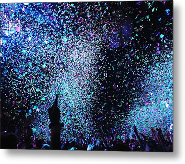 Confetti Falling On Crowd At Concert Metal Print by Natalia Martin Rivero / Eyeem
