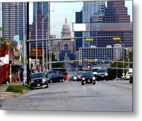 Congress Ave To The Capital Metal Print