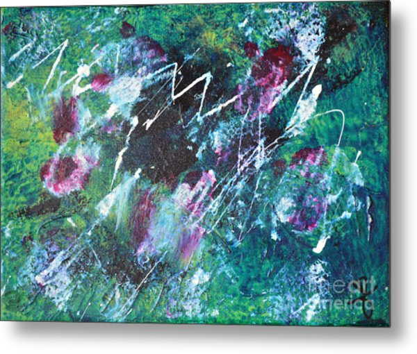 Connected Blue Green Abstract By Chakramoon Metal Print by Belinda Capol