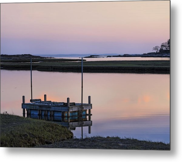Connecticut Backwaters Sunset With Dock  Metal Print