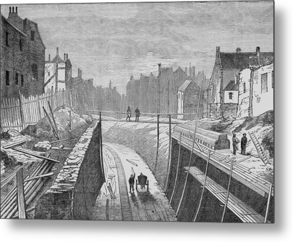 Constructing An Underground  Line Metal Print by Mary Evans Picture Library
