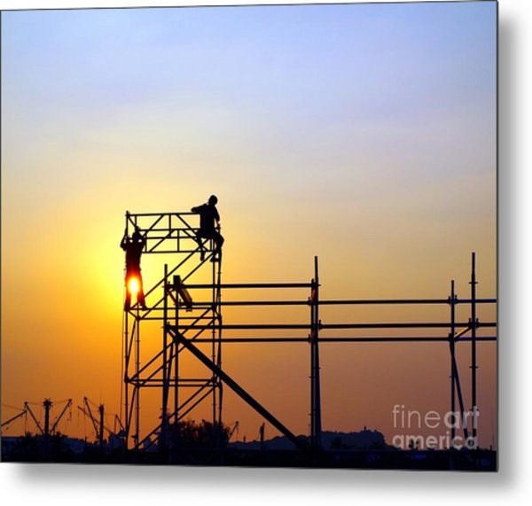 Construction Workers On A Scaffold Metal Print