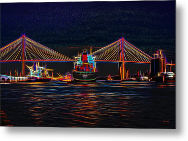 Container Ship Arriving At Savannah Metal Print