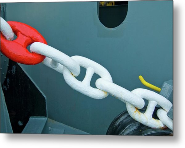 Container Ship Chain Metal Print