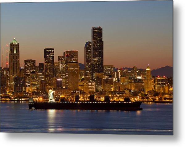 Container Ship On Puget Sound Along Seattle Skyline Metal Print