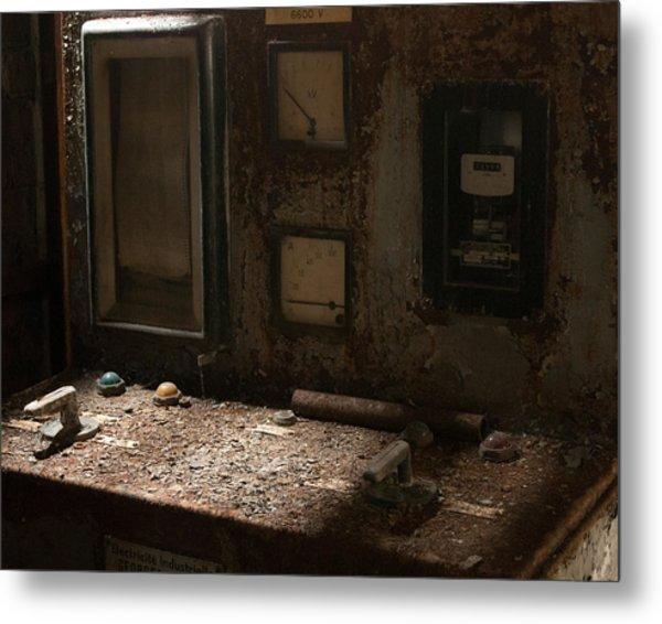 Control Panel In Decay Metal Print