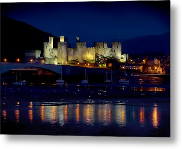 Conwy Castle At Night Metal Print