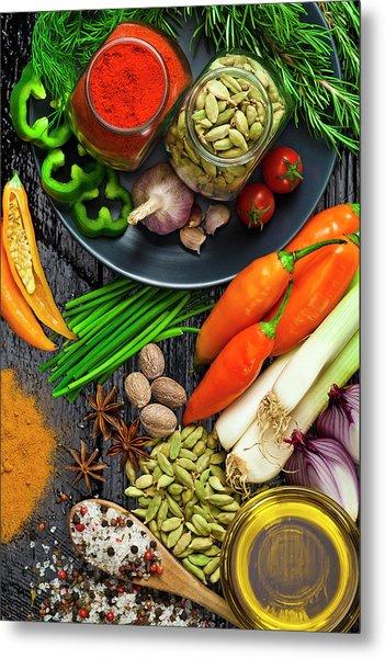 Cooking And Seasoning Ingredients Metal Print by Fcafotodigital
