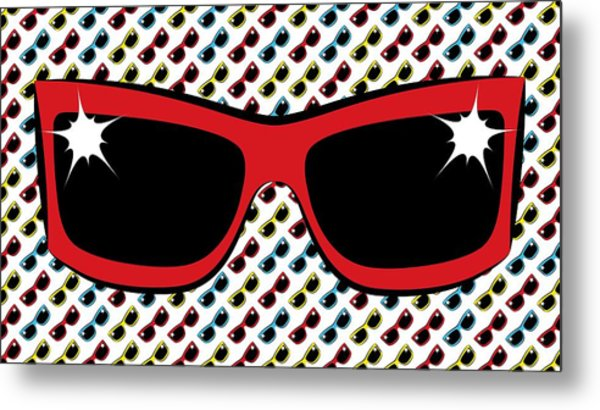 Cool 90's Sunglasses Red Metal Print