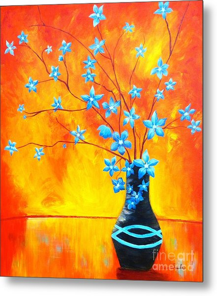 Cool Blue On Fire Metal Print