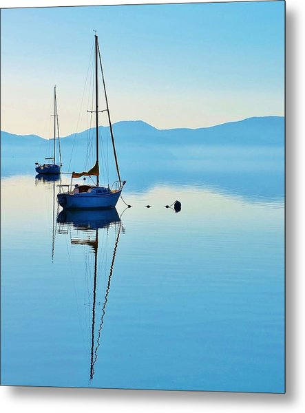 Cool Blue Tahoe Sail Metal Print