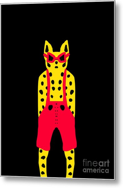 Cool For Cats In Red Dungarees Metal Print
