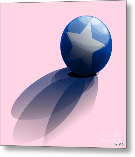Blue Ball Decorated With Star Metal Print