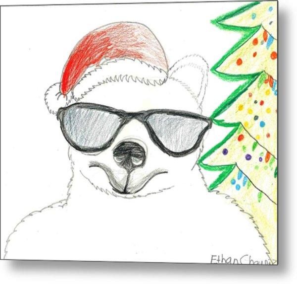 Cool Christmas Polar Bear  Metal Print by Ethan Chaupiz