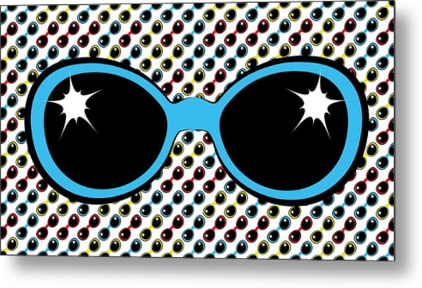 Cool Retro Blue Sunglasses Metal Print