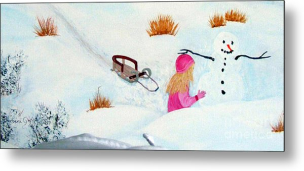 Cool  Winter Friend - Snowman - Fun Metal Print