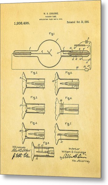 Coolidge X-ray Tube Patent Art 1913 Metal Print by Ian Monk