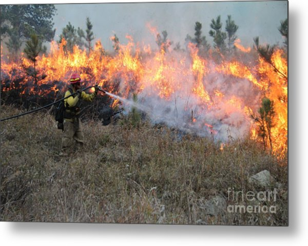 Cooling Down The Norbeck Prescribed Fire. Metal Print
