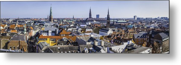 Copenhagen Spires And Rooftops Panorama Over Central Cityscape Denmark Metal Print by fotoVoyager