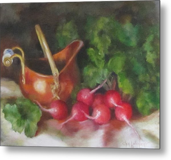 Copper Pot And Radishes Still Life Painting Metal Print