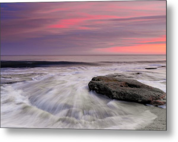 Coquina Rocks Washed By Ocean Waves At Colorful Sunset Metal Print