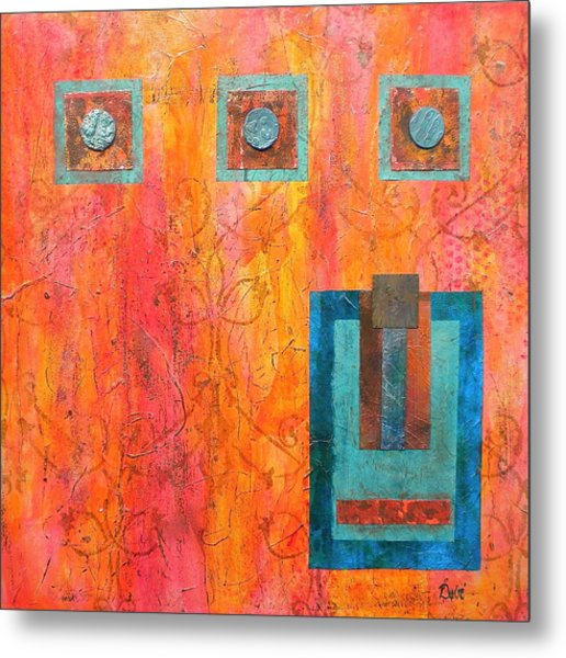 Coral And Turquoise Metal Print