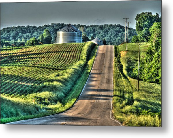 Corduroy Corn And Seersucker Silos Metal Print