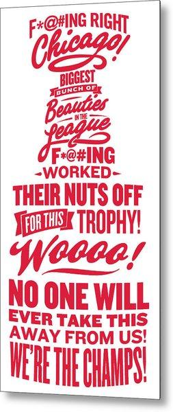 Corey Crawford Cup Speech Metal Print by The Heckler