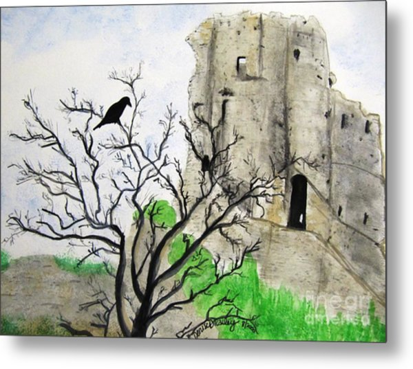 Corfe Castle And Crow Metal Print