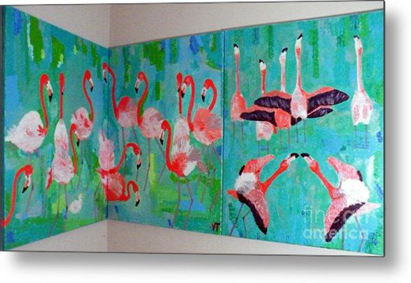 Corner Flamingos Metal Print