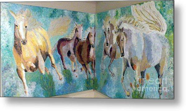 Corner Horses Metal Print