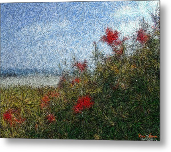 Coronado Beach Flowers Metal Print
