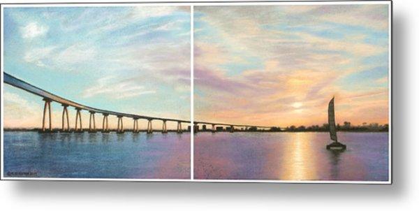 Coronado Bridge Sunset Diptych Metal Print