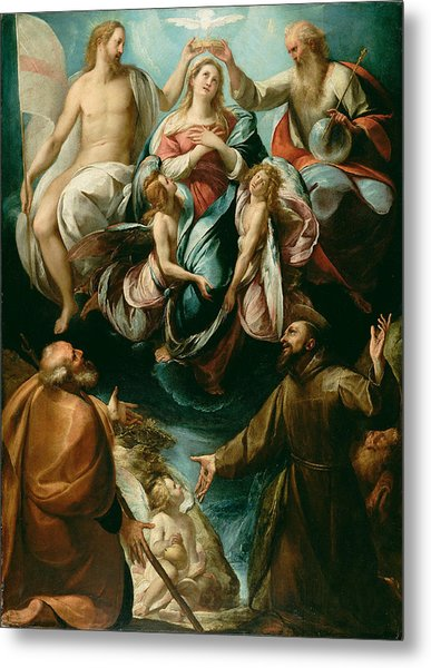 Coronation Of The Virgin With Saints Joseph And Francis Of Assisi Metal Print