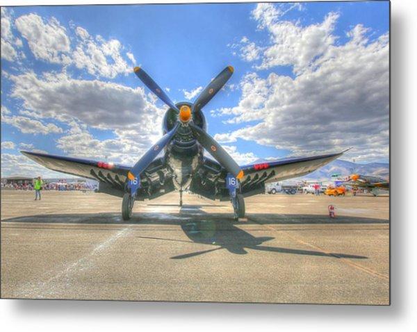Corsair On The Flight Line At Reno Air Races Metal Print
