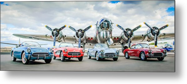 Corvettes With B17 Bomber Metal Print