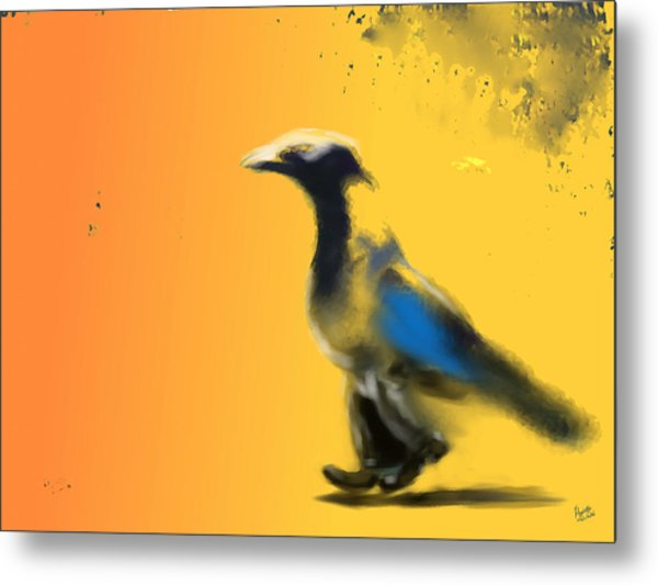 Corvus Out For A Walk Metal Print