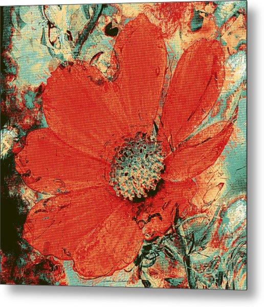 Cosmos Flower Colorized Halftone Metal Print