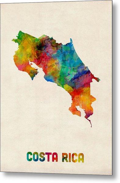 Costa Rica Watercolor Map Metal Print
