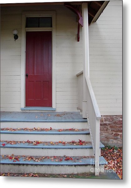 Cozy Cottage Door Metal Print