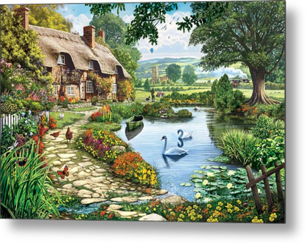 Cottage By The Lake Metal Print